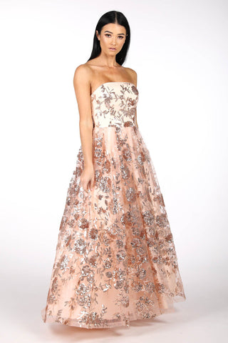 AMAYA Strapless Sequin Ball Gown - Rose Gold