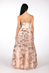 Back Image of Strapless Square Neckline A Line Ball Gown with Embroidered Flower Sequinned Mesh in Rose Gold Colour