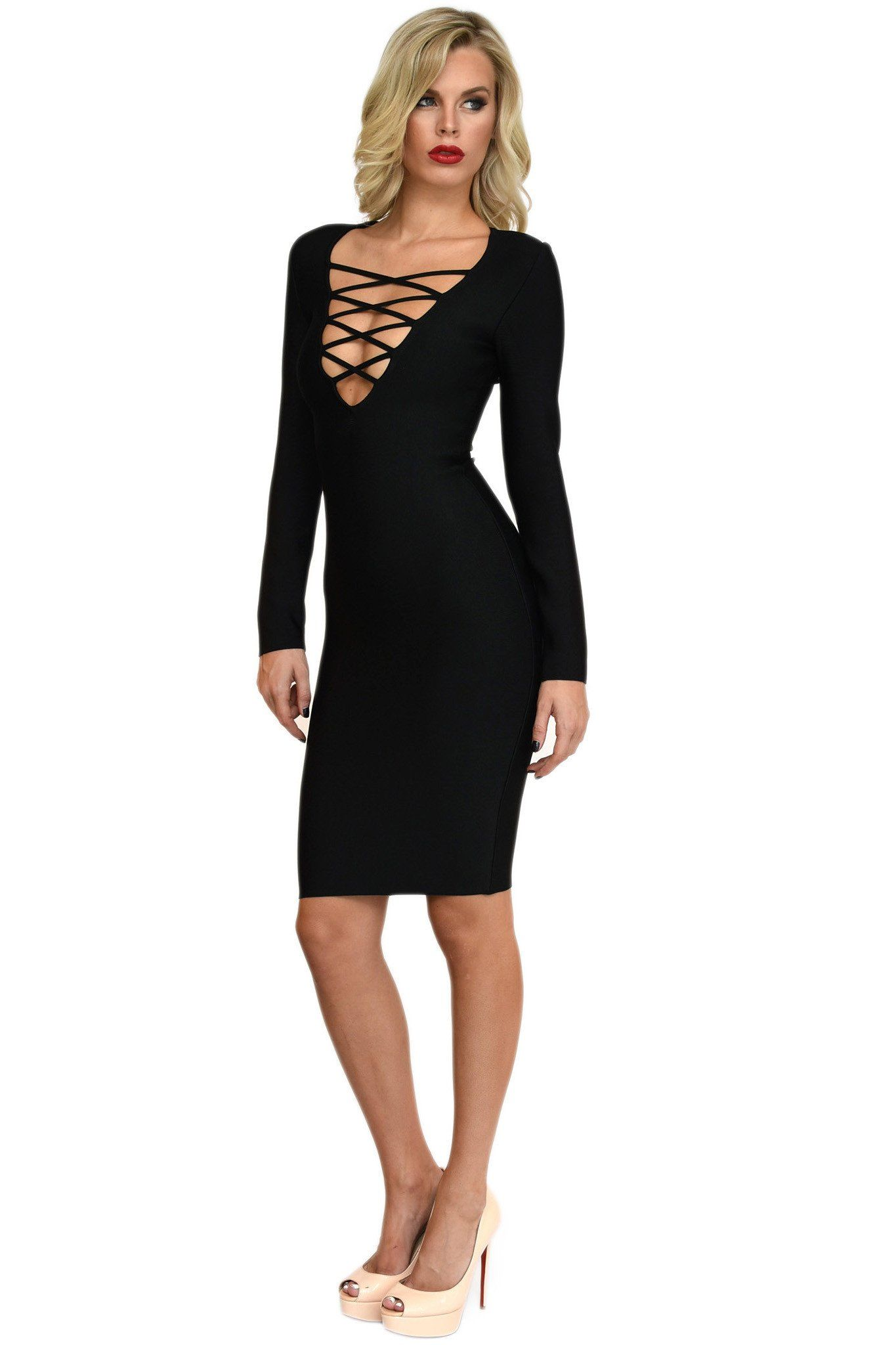 Front of black long-sleeve midi bandage dress featuring lace-up design and V plunge neck