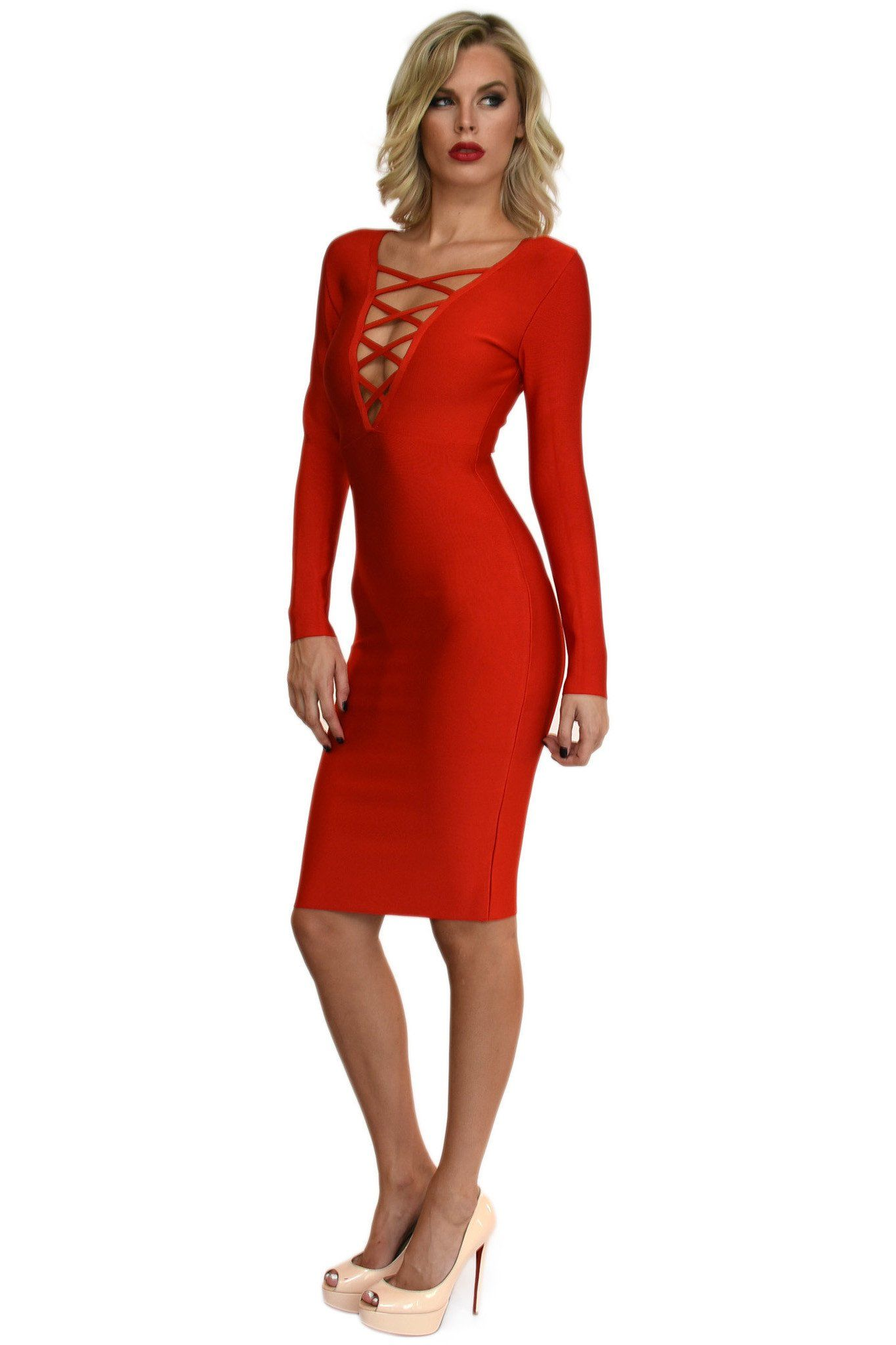 a7234eea Front of red long sleeve bandage dress with v neck lace up front details