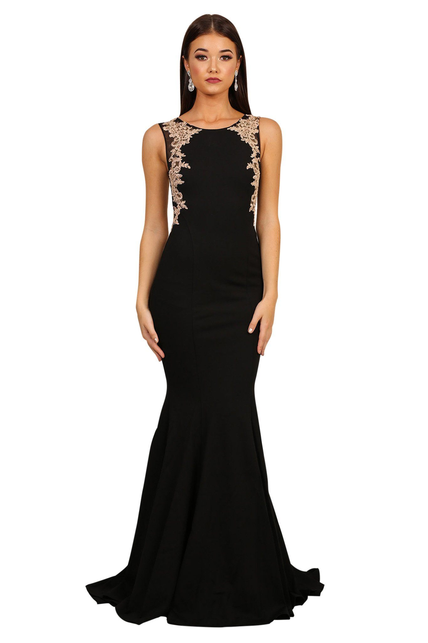 Front of black sleeveless floor-length evening dress with beige lace detailing, flared mermaid skirt and sweep train
