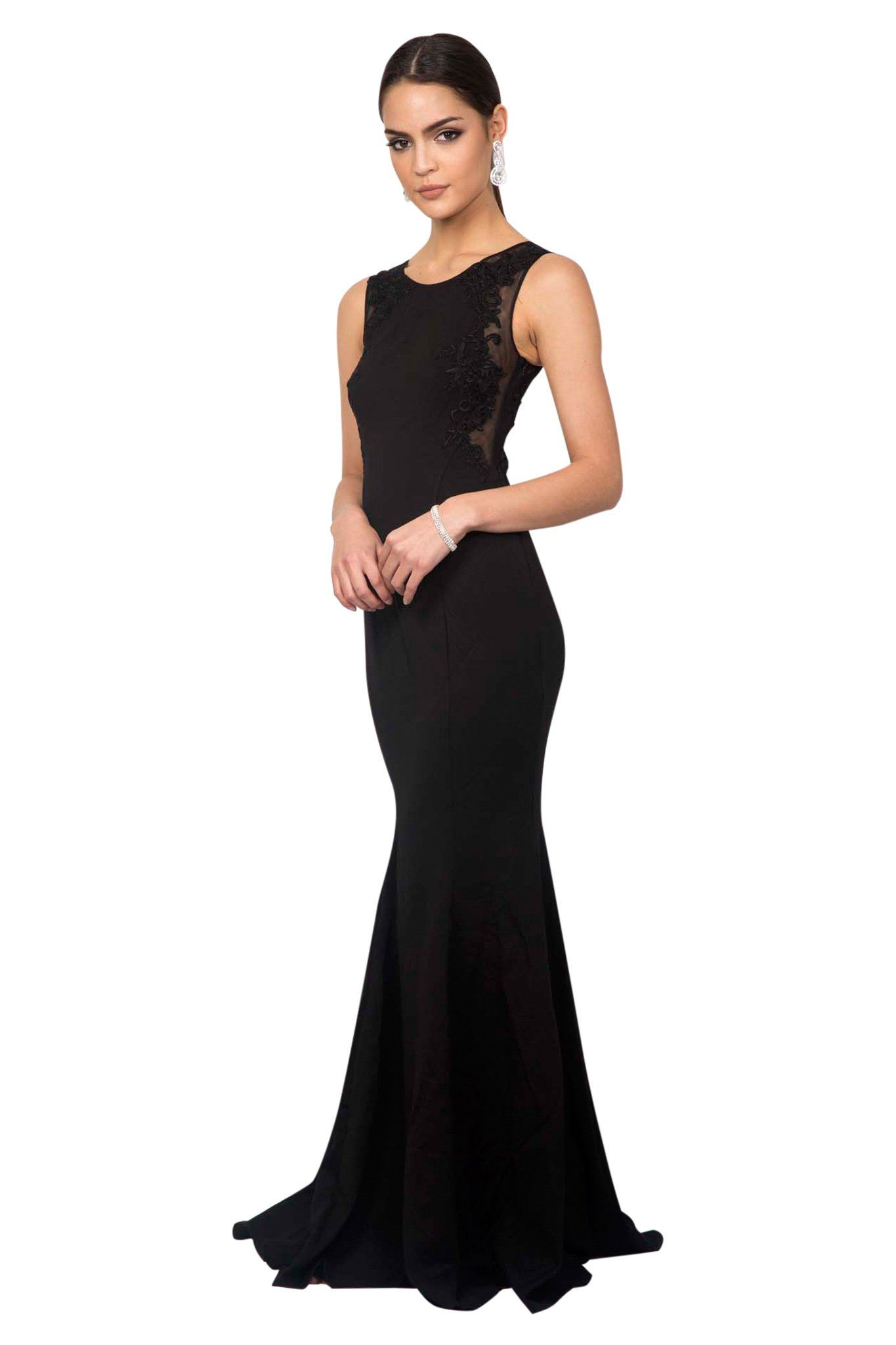 Black scoop neck sleeveless floor length maxi evening dress mermaid silhouette sheer lace details on the side and the back