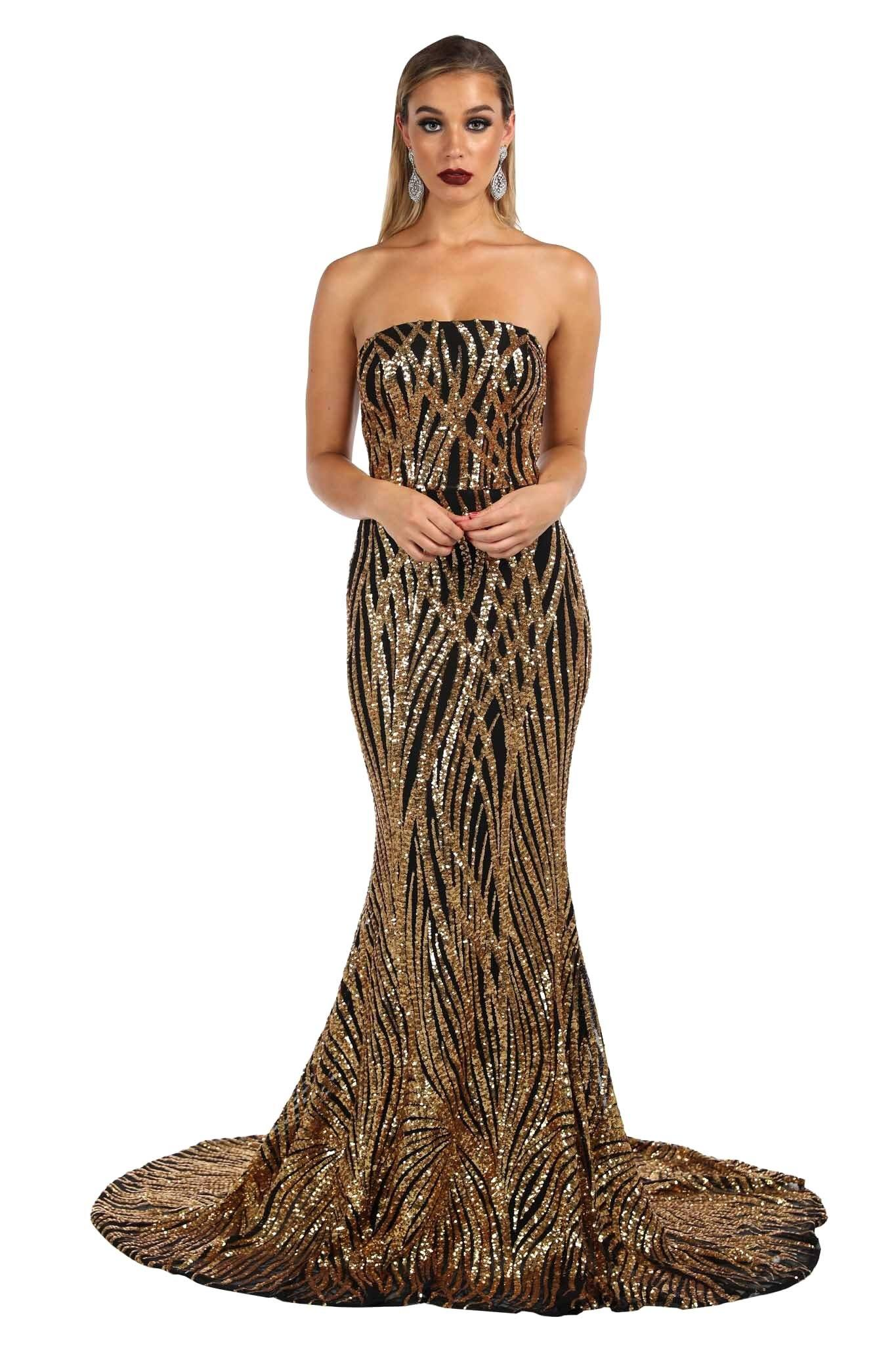 Gold and Black sequin prom formal long gown features strapless straight neckline, fishtail and long train design