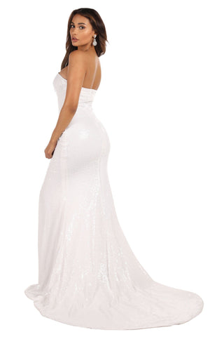Angelisa Gown with Slit - White
