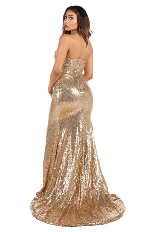 Angelisa Gown with Slit - Gold