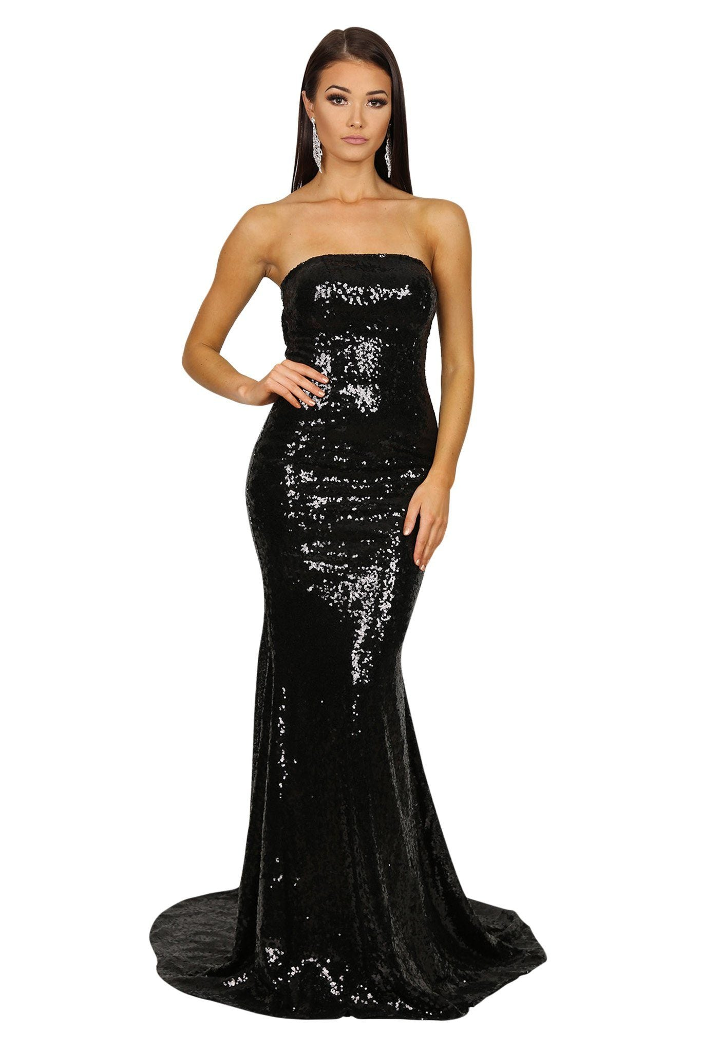 Front of black sequin sleeveless formal evening long gown features strapless straight neckline, flared mermaid skirt and long train