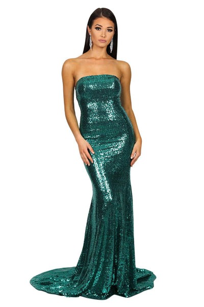Angelisa Strapless Straight Neck Gown - Emerald Green
