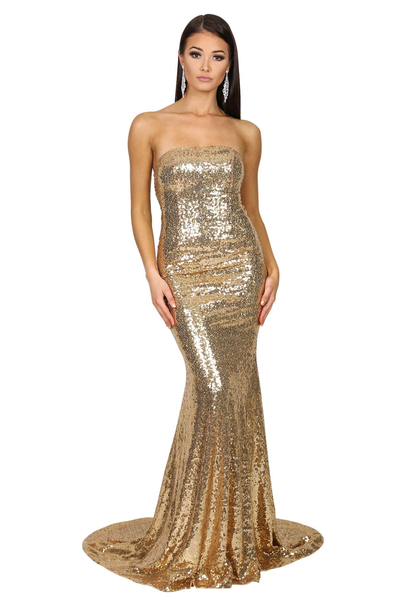 Front of Gold sequin sleeveless formal evening long gown features strapless straight neckline, flared mermaid skirt and long train