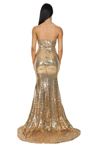 Angelisa Strapless Straight Neck Gown - Gold