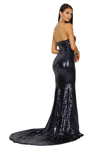 Angelisa Strapless Straight Neck Gown - Navy