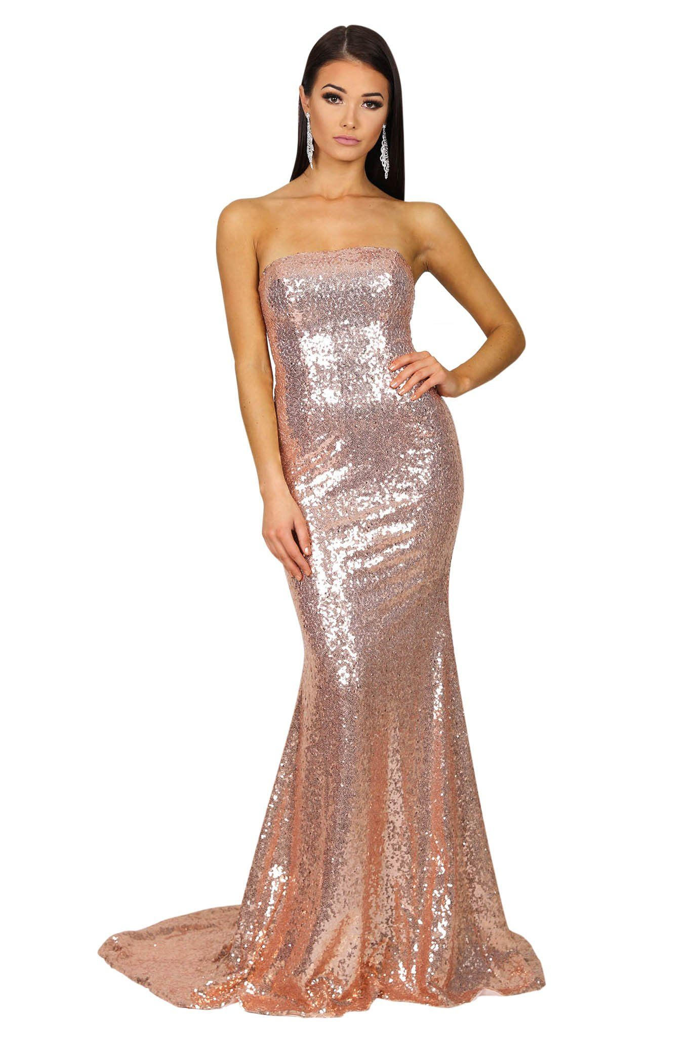 Rose Gold sequinned sleeveless form-fitting formal evening long gown with strapless straight neckline design, trumpet silhouette and long train