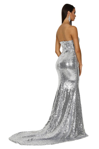Angelisa Strapless Straight Neck Gown - Silver