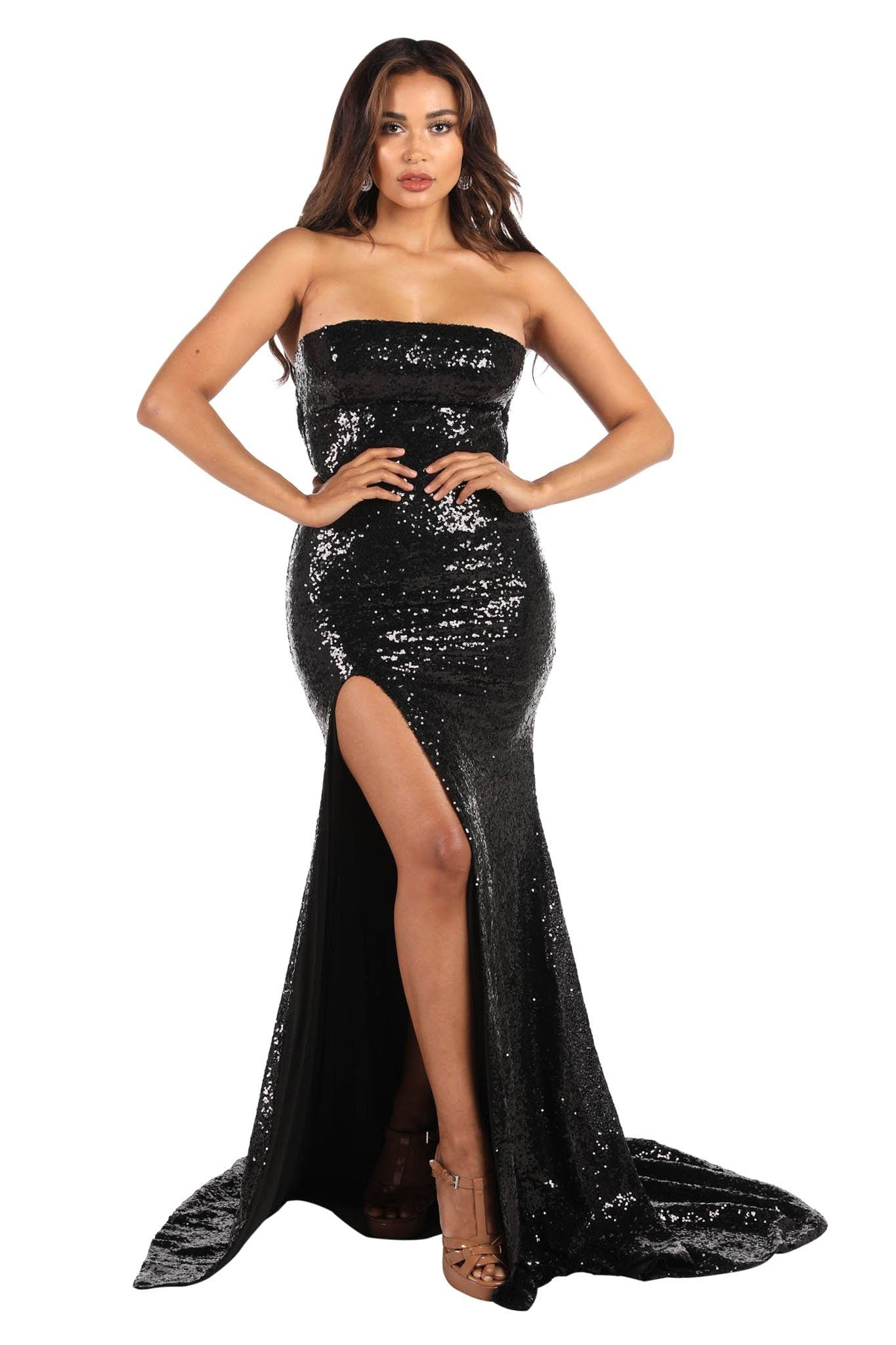 Black Shiny Sequin Form-Fitting Evening Long Gown with Straight Square Neckline, Thigh-High Leg Slit and Long Train