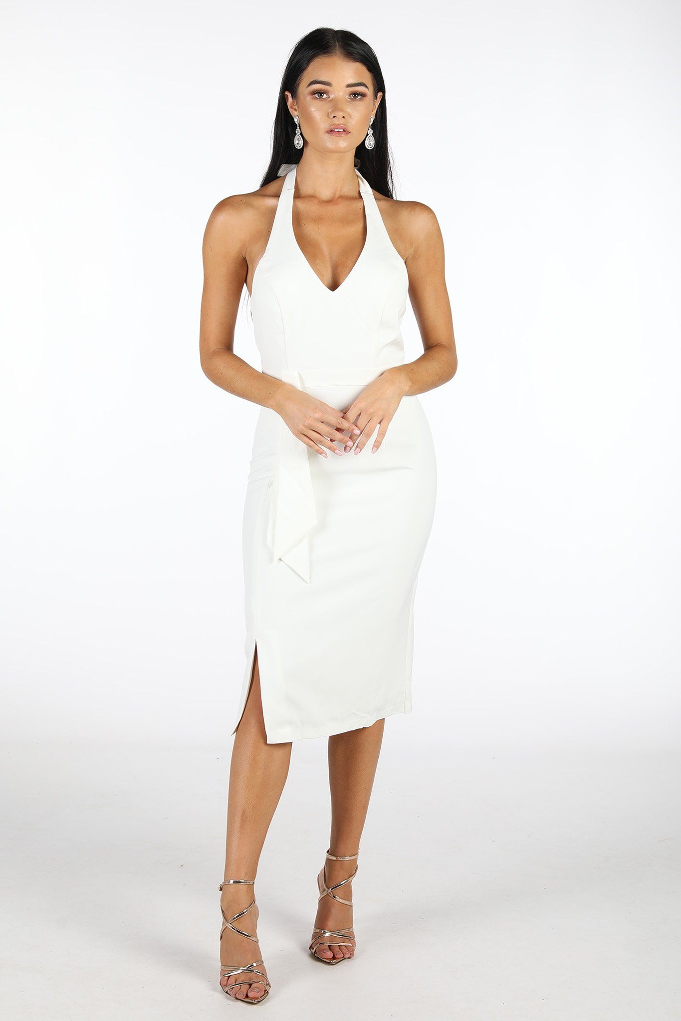 White bodycon midi dress with deep V halter-neck and side split