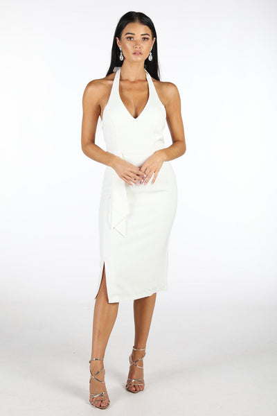 Anita Halter Neck Midi Dress - White