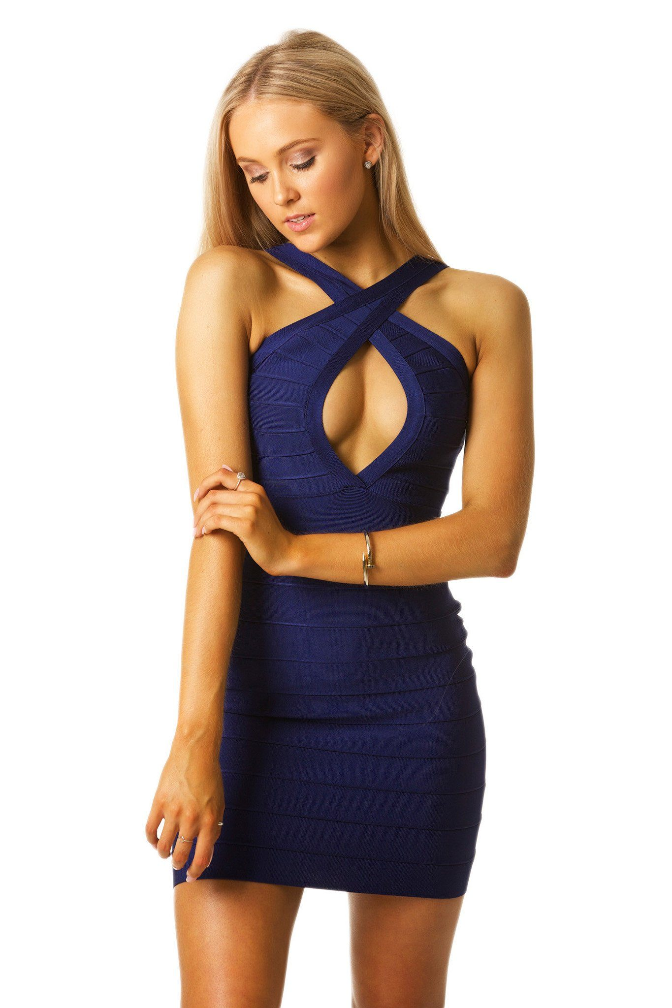 Close-up front shot of navy blue above the knee bandage dress featuring crisscross front design and sexy chest peephole