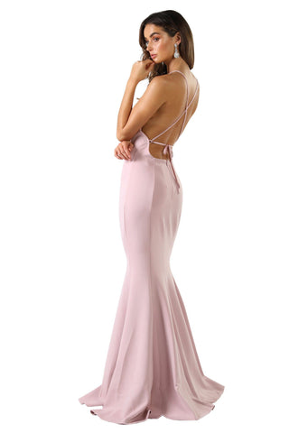 Annabelle Scuba Gown - Dusty Pink
