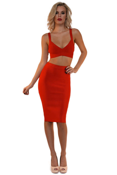 Ariana Two-Piece Dress in Red