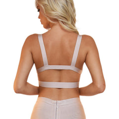 Back of nude colored bralette style bodycon bandage crop top