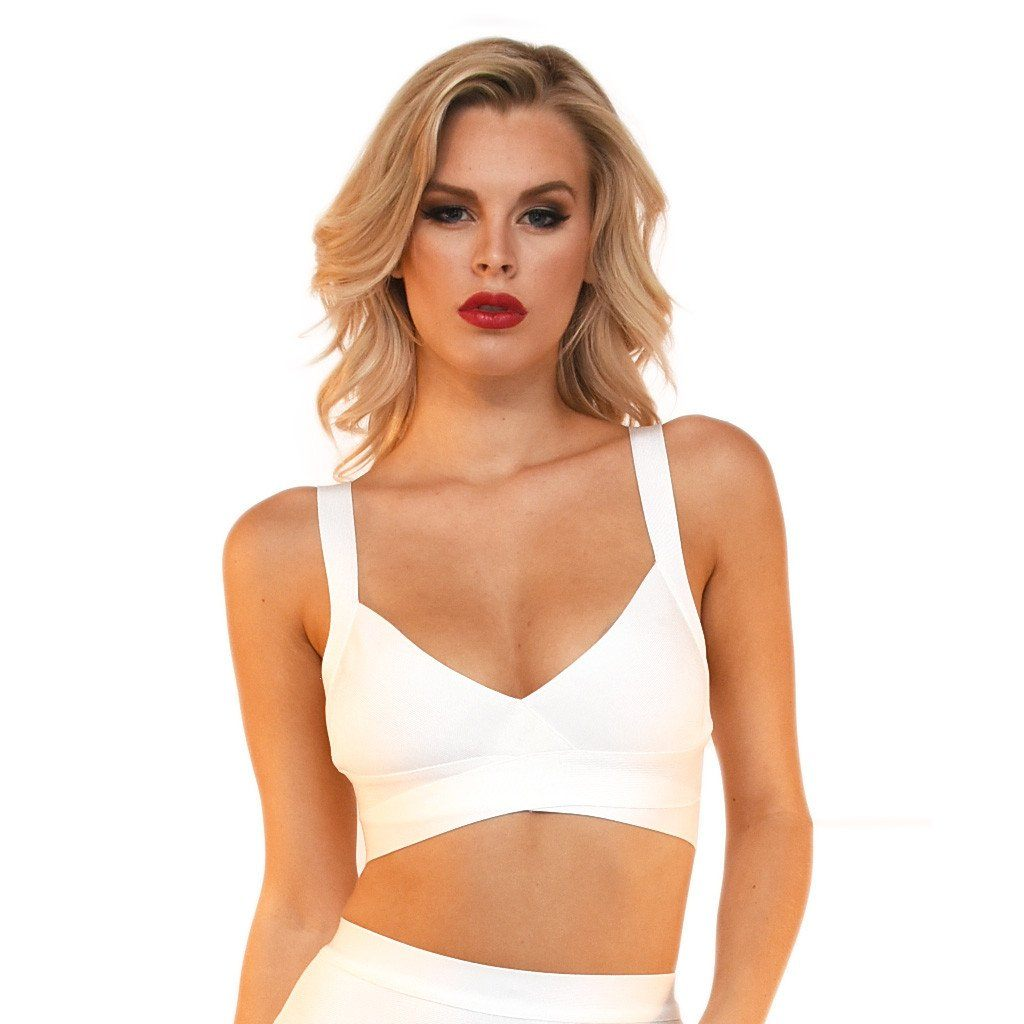 Front of white bralette style bandage crop top featuring sexy V neck and side & back cut outs