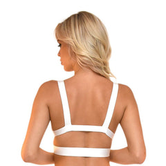 Back of white bralette style bandage crop top featuring sexy V neck and side & back cut outs