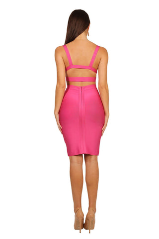 Ariana Two-Piece Dress in Hot Pink