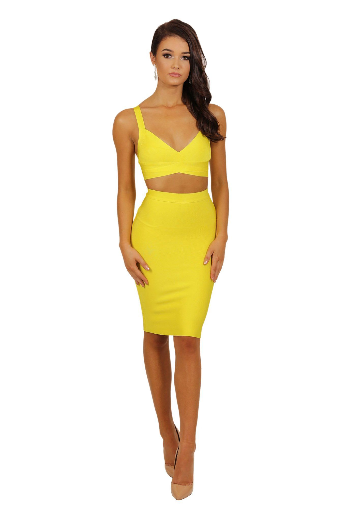 c37eec78551d Two-piece bandage dress set including bralette style crop top and midi  pencil skirt in