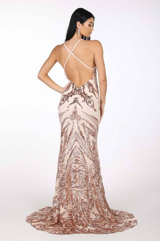 Ariella Side Slit Pattern Sequin Gown - Rose Gold
