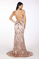 Criss-cross straps on open back design of Rose Gold Full Length Evening Sequin Gown with Rose Gold Embroidered Pattern Sequins Over Light Pink Underlay, V neckline, Criss-cross Straps on Open Back, Thigh-high Side Slit, Fit and Flare Silhouette and Sweep Train