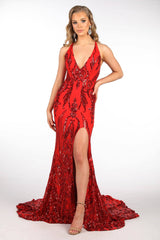 Red Full Length Evening Sequin Gown with Deep Red Embroidered Pattern Sequins Over Red Underlay, V neckline, Criss-cross Straps on Open Back, Thigh-high Side Slit, Fit and Flare Silhouette and Sweep Train