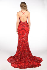 Ariella Side Slit Pattern Sequin Gown - Red