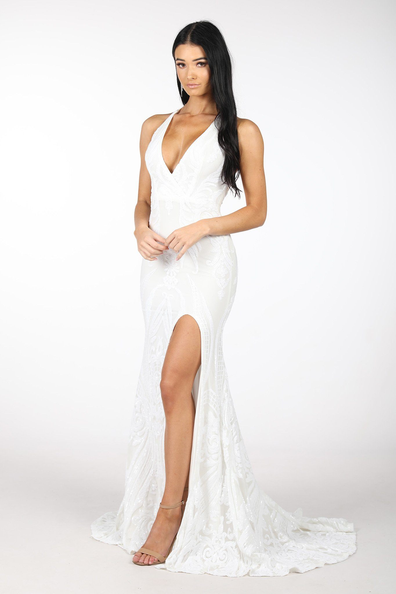 Ivory White Full Length Evening Pattern Sequin Gown with White Underlay, V neckline, Criss-cross Straps on Open Back, Thigh-high Side Slit, Fit and Flare Silhouette and Sweep Train