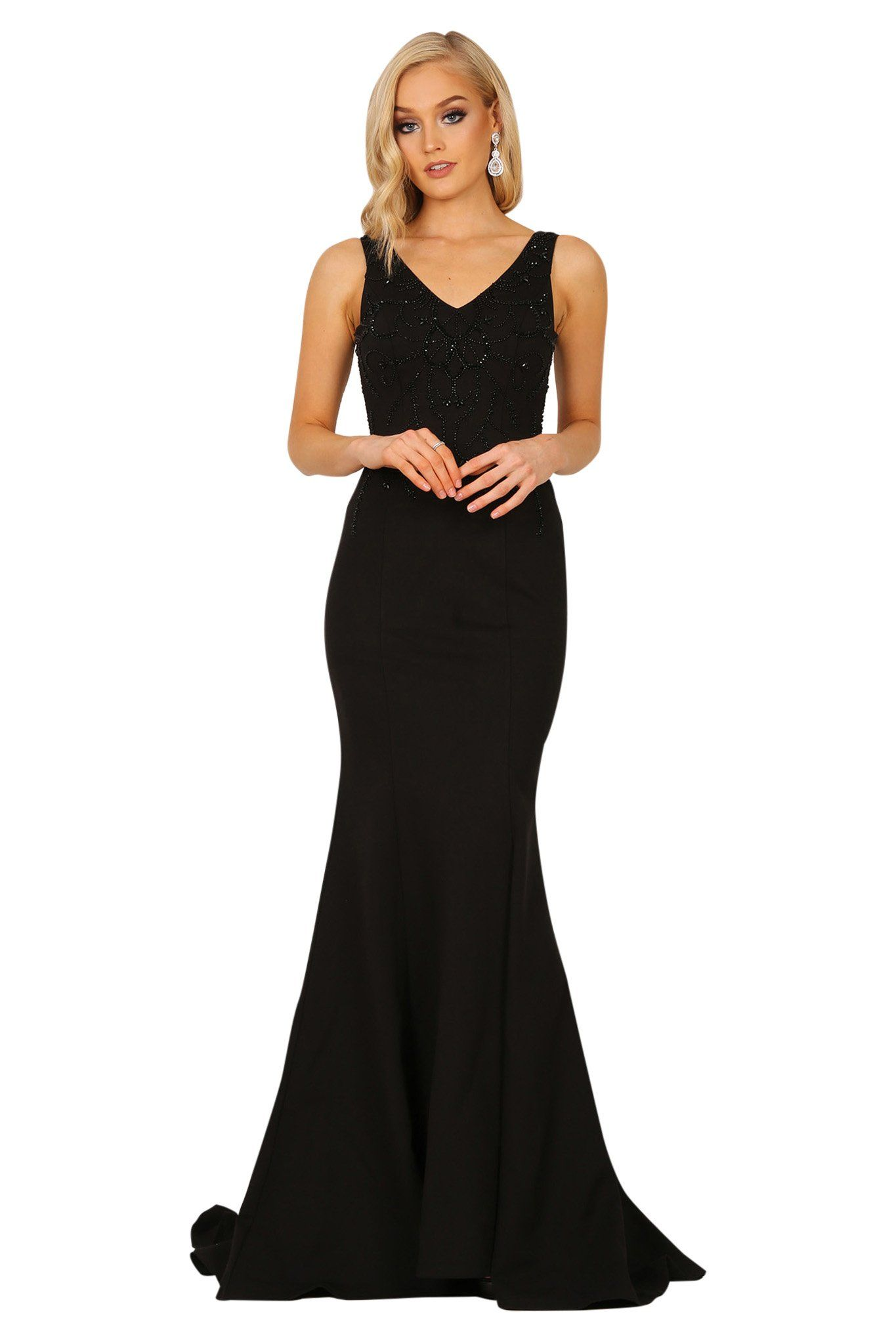 Black sleeveless fitted floor length evening gown featuring v neckline, beaded embellishment, sheer mesh at the back, and sweep mermaid train