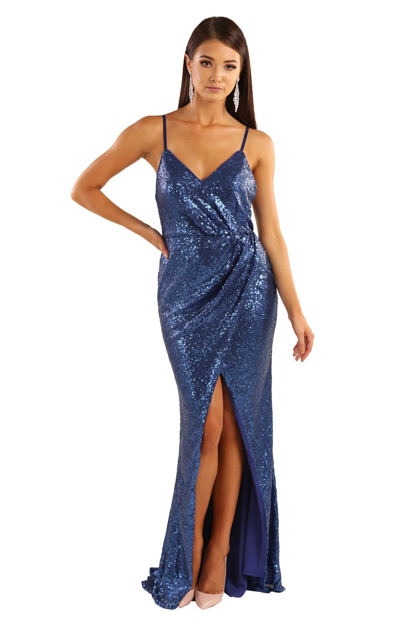 Sapphire blue colored sequin sleeveless formal long gown with adjustable shoulder straps, front slit and open back design