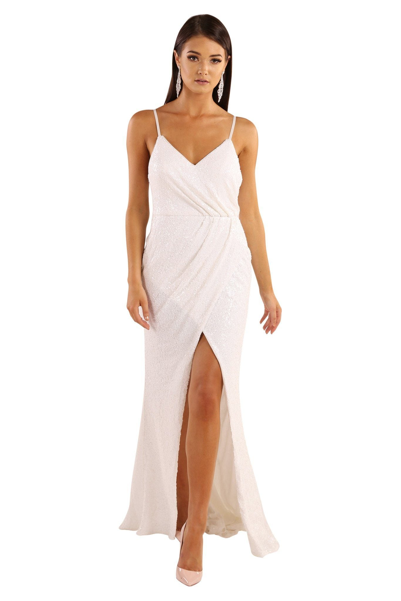 White sleeveless sequin formal long gown with adjustable shoulder straps, front slit and open back design