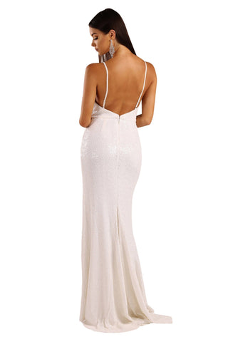 Aurora Sequin Gown - White (Size M - Clearance Sale)