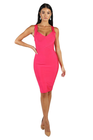 Eva Crisscross V Neck Bandage Dress - Hot Pink