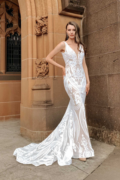 BA109 Pattern Sequin Gown by Tina Holly - White/Nude