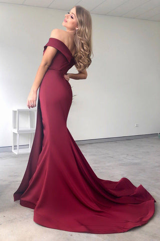BA306 Off Shoulder French Satin Gown in Wine (Size S - Clearance Sale)