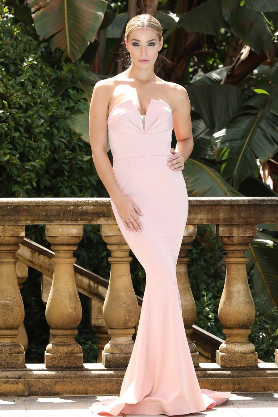 Front of Dusty Pink Strapless Floor Length Fit and Flare Mermaid Gown by Designer Tina Holly
