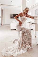 BA999 Pattern Sequin Gown by Tina Holly - White/Nude