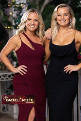 Noodz Boutique's Deep Red Asymmetrical Neck Maxi Dress as featured on The Bachelorette AU Season 6 Show worn by Becky Miles