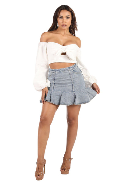 Bardot Bow Front Long Sleeve Top - White
