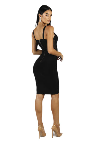 Beck Corset Mesh Bandage Dress in Black