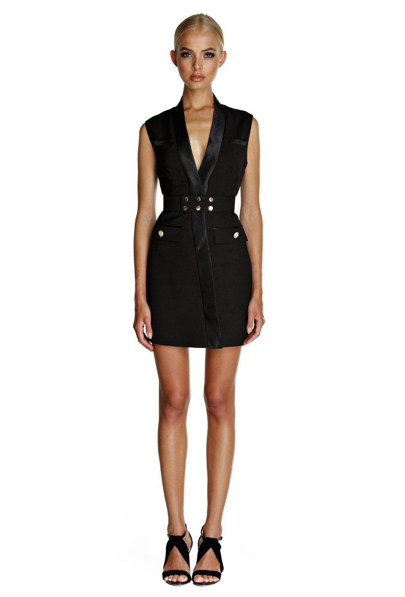 Black sleeveless blazer above knee length dress featuring gold belt, gold buttons and semi low plunge neckline