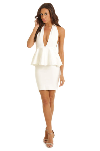 Bella Peplum Dress in White