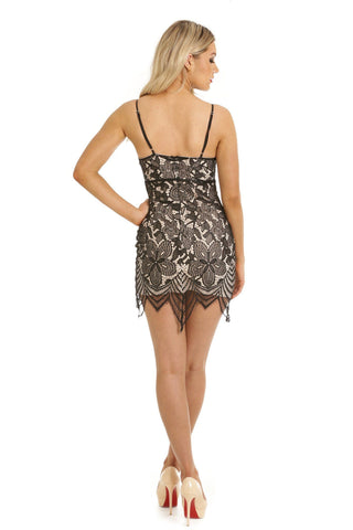 Beth Black Lace Mini Dress