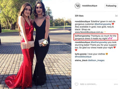 Customer photo and feedback for Red Estellina sequin gown from Noodz Boutique