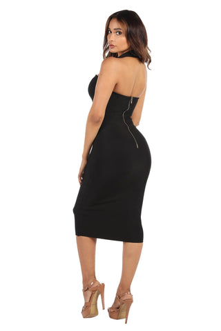 Beverly Halter Midi Dress - Black