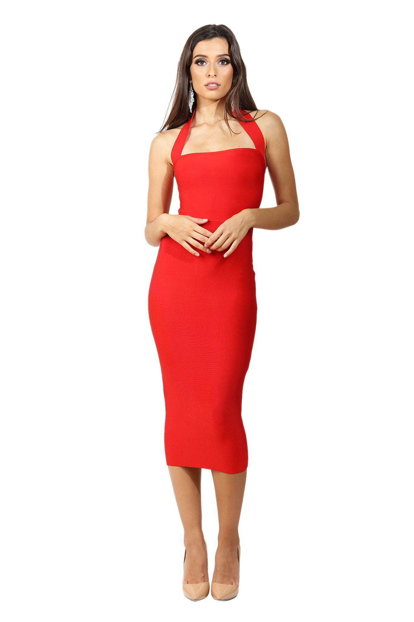 Red sleeveless midi length bandage dress with wide halter-neck straps and straight open neckline